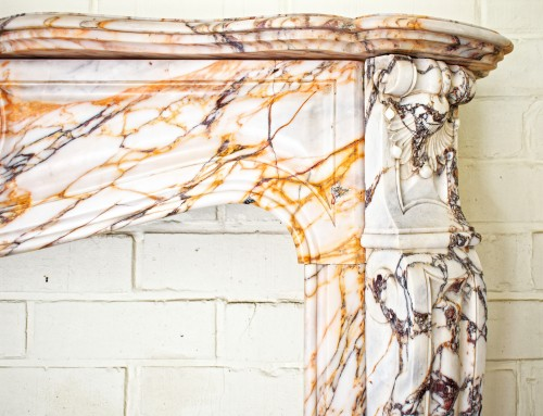 Antiquités - Large Panazeau marble fireplace in the Louis XV style