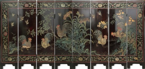 Small 8 panels Coromandel lacquer screen, China 18th century