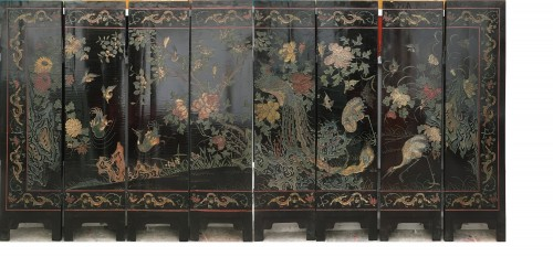 Small 8 panels Coromandel lacquer screen, China 18th century - Asian Art & Antiques Style