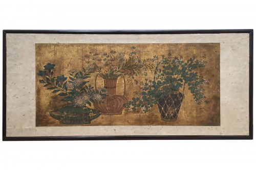 Painting on paper and gold leaves, Japan 18th century