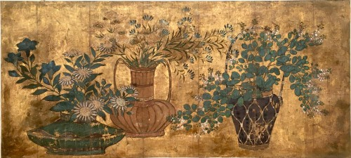 Painting on paper and gold leaves, Japan 18th century - Asian Art & Antiques Style