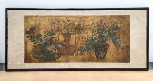 Asian Art & Antiques  - Painting on paper and gold leaves, Japan 18th century