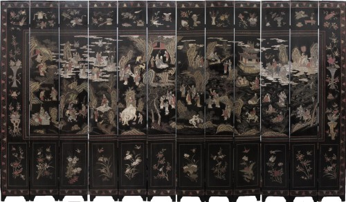 Large twelve panel Coromandel screen, China 18th century