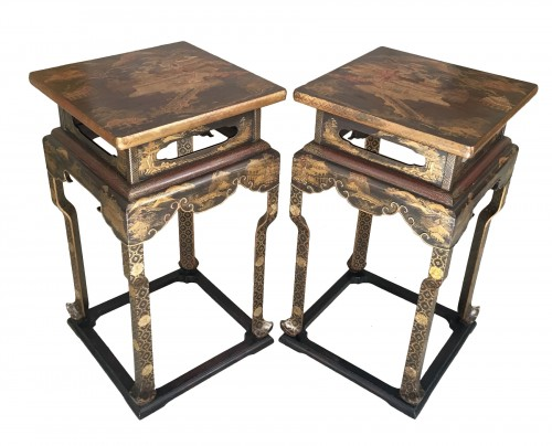 Pair of Japanese lacquered stands, 19th century