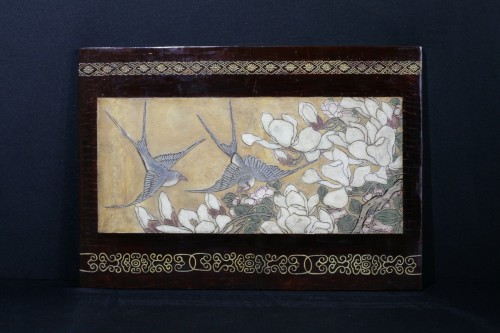 Small panel in Coromandel lacquer with a golden background - Asian Works of Art Style