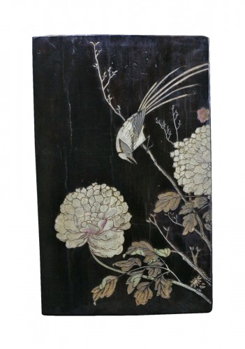Coromandel lacquer panel -  a jay among the peonies