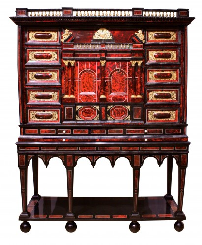 A 17th c. Antwerp ormolu-mounted tortoiseshell cabinet