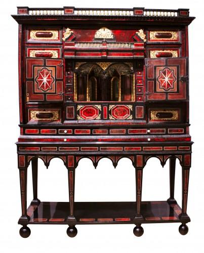 A 17th c. Antwerp ormolu-mounted tortoiseshell cabinet - Furniture Style Louis XIV