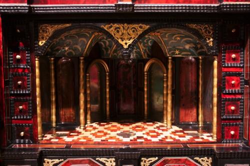 A 17th c. Antwerp ormolu-mounted tortoiseshell cabinet -