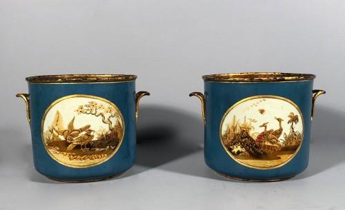 Antiquités - Rare pair of bucket bottles in blue Martin varnish, Paris circa 1770