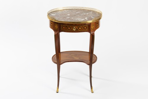 A Transitional trellis marquetery table stamped Reizell, circa 1770 - Furniture Style Transition