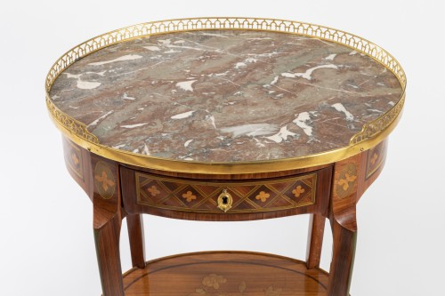 Furniture  - A Transitional trellis marquetery table stamped Reizell, circa 1770