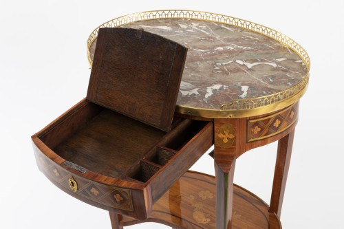 18th century - A Transitional trellis marquetery table stamped Reizell, circa 1770