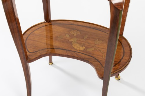 Transition - A Transitional trellis marquetery table stamped Reizell, circa 1770