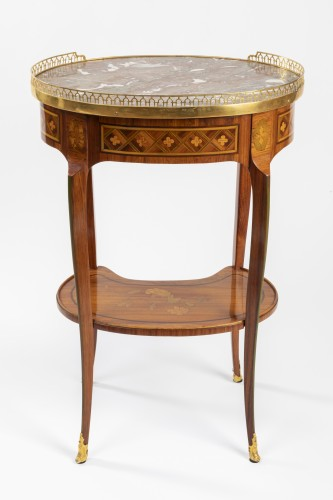 Antiquités - A Transitional trellis marquetery table stamped Reizell, circa 1770