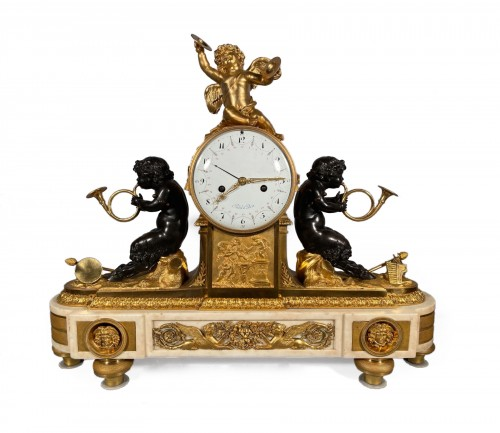 Mantel clock with musical fauns, Thomire circa 1790