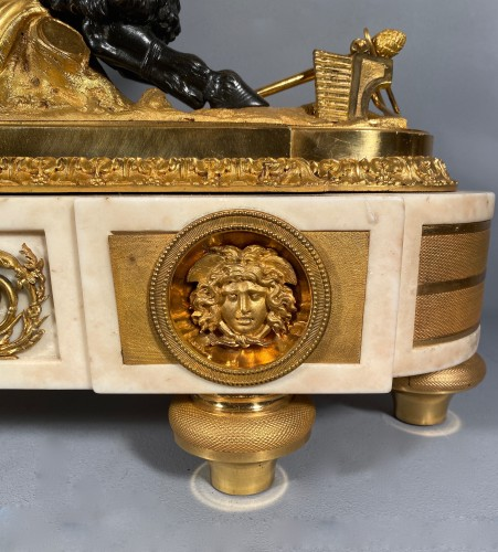 18th century - Mantel clock with musical fauns, Thomire circa 1790