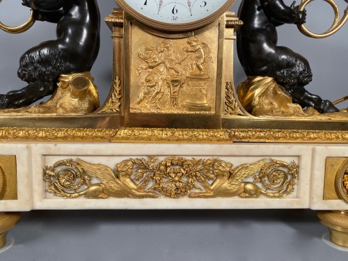 Louis XVI - Mantel clock with musical fauns, Thomire circa 1790