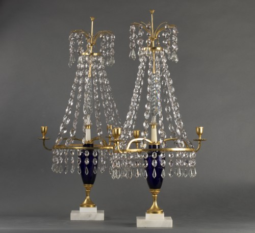 Pair of girandoles in bronze and crystal, St Petersburg circa 1790 - Lighting Style Directoire