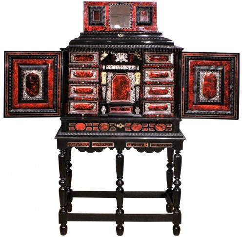 An Antwerp 17th c. tortoiseshell and silver mounted cabinet