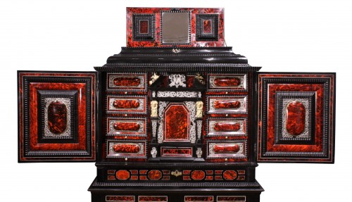 Furniture  - An Antwerp 17th c. tortoiseshell and silver mounted cabinet