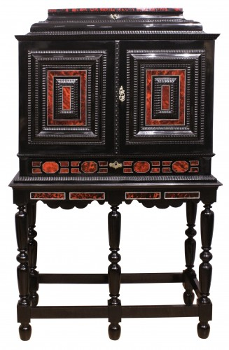 An Antwerp 17th c. tortoiseshell and silver mounted cabinet -