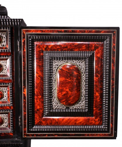 Louis XIV - An Antwerp 17th c. tortoiseshell and silver mounted cabinet
