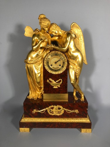 Antiquités - Cupidon and Psyche pendulum, attributed to Thomire, Paris circa1820