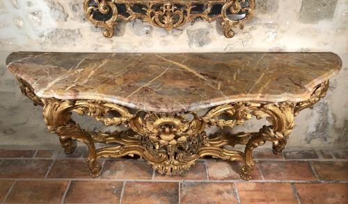 Monumental console table Louis XV period circa 1760 -