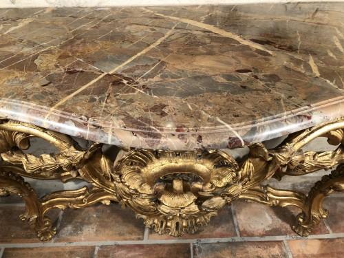 18th century - Monumental console table Louis XV period circa 1760