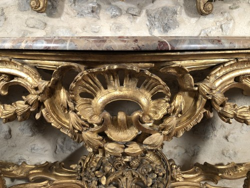 Antiquités - Monumental console table Louis XV period circa 1760