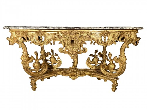 Console in gilded wood with hydra, Paris Louis XIV period