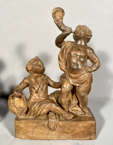 18th century - Project of terracotta andirons for child musicians, Paris around 1770
