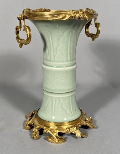 Celadon porcelain vase mounted , Paris circa 1750 - Louis XV
