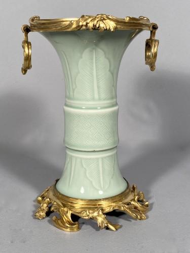 Louis XV - Celadon porcelain vase mounted , Paris circa 1750
