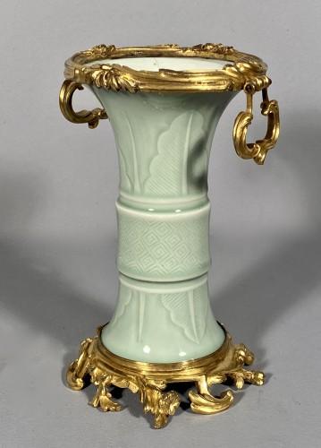 Antiquités - Celadon porcelain vase mounted , Paris circa 1750