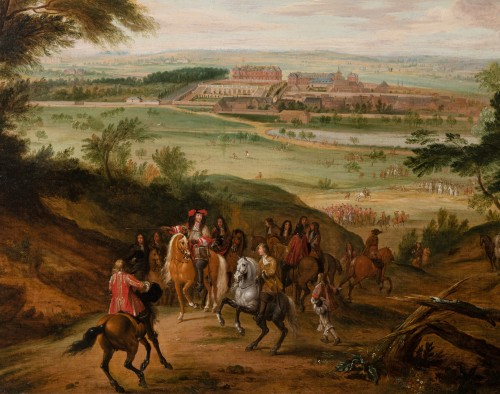 Louis XIV in front of palace of Versailles, workshop of A.F. van der Meulen - Paintings & Drawings Style Louis XIV
