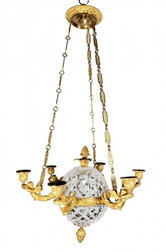 An Empire c. 1810 bronze and crystal chandelier attributed to Ravrio, Paris