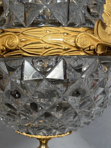 Lighting  - An Empire c. 1810 bronze and crystal chandelier attributed to Ravrio, Paris