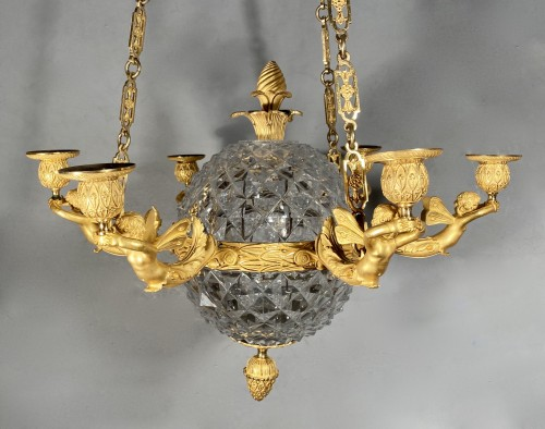 An Empire c. 1810 bronze and crystal chandelier attributed to Ravrio, Paris -