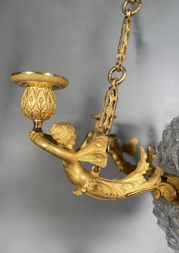 19th century - An Empire c. 1810 bronze and crystal chandelier attributed to Ravrio, Paris