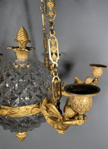 An Empire c. 1810 bronze and crystal chandelier attributed to Ravrio, Paris - Empire