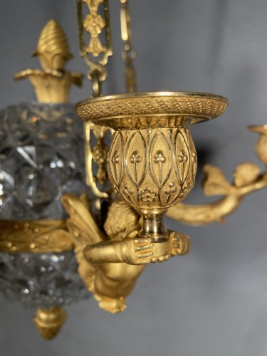 Antiquités - An Empire c. 1810 bronze and crystal chandelier attributed to Ravrio, Paris