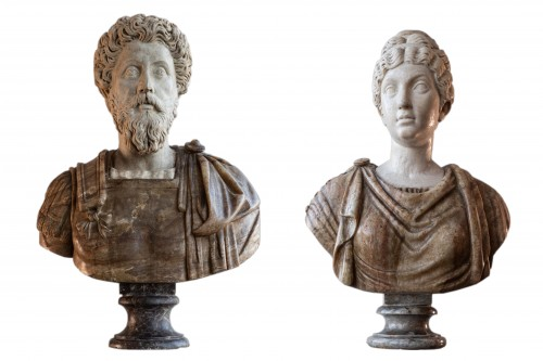 Marcus Aurelius and Faustina, marble and Alabaster, Rome 17th century.