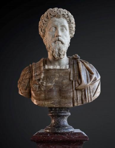 Marcus Aurelius and Faustina, marble and Alabaster, Rome 17th century. -