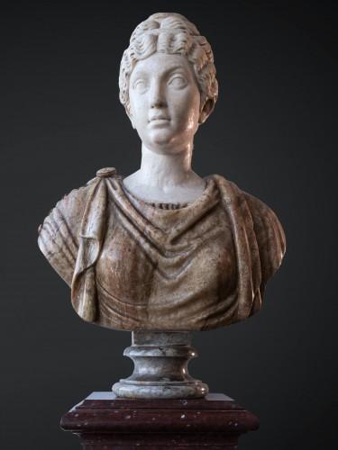 17th century - Marcus Aurelius and Faustina, marble and Alabaster, Rome 17th century.