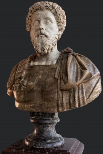 Antiquités - Marcus Aurelius and Faustina, marble and Alabaster, Rome 17th century.