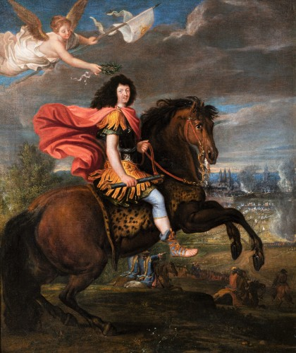Equestrian portrait of Louis XIV, Pierre Mignard and his workshop - Paintings & Drawings Style Louis XIV