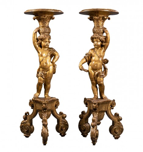 A pair of Louis XIV giltwood porte-torcheres, Paris, circa 1670
