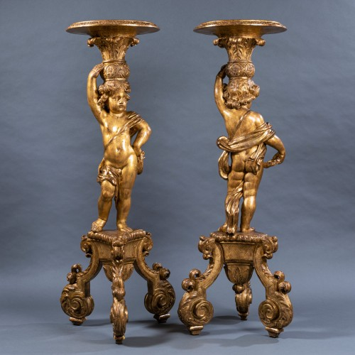 A pair of Louis XIV giltwood porte-torcheres, Paris, circa 1670 - Furniture Style Louis XIV
